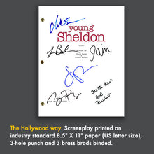 YOUNG SHELDON Tv Script Pilot Episode Screenplay Signed Autograph Reprint - Big Bang Theory, Iain Armitage, Sheldon Cooper, Jim Parsons
