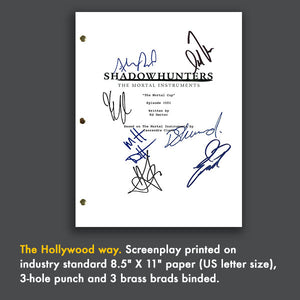 Shadowhunters Signed Script Screenplay Autograph - Katherine McNamara - Dominic Sherwood - Matthew Daddario