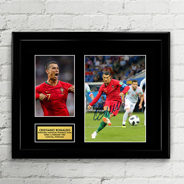Cristiano Ronaldo - Signed Poster Art Print Artwork - Fifa World Cup 2018 Portugal National Football Team