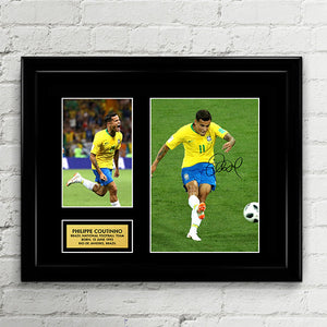 Philippe Coutinho - Brazil National Football Team - Fifa World Cup 2018 Signed Poster Art Print Artwork