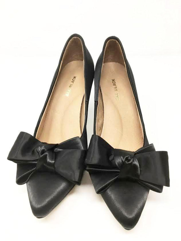 All Black Bow Pump, Black Satin, 36