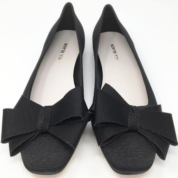 All Black Grograin Ballet, Black, 36