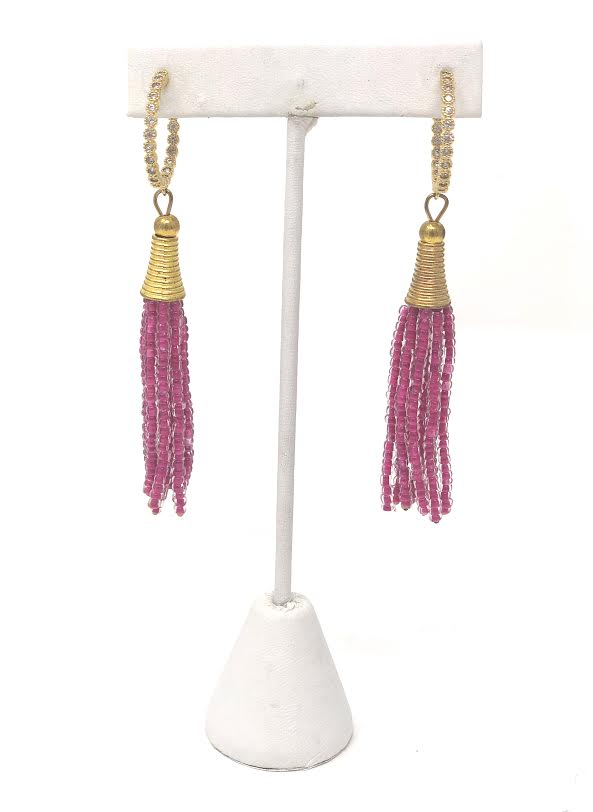 Designs by Ali Gold Plated Beaded Glass Tassel Earrings