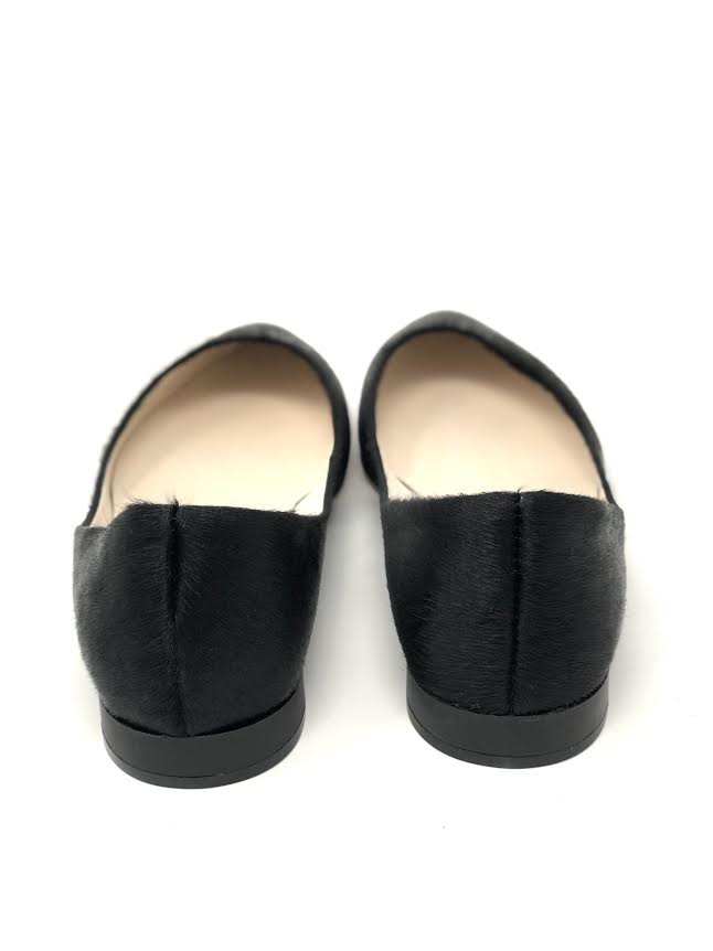 All Black Calf Hair Flat