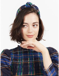 Tanya Taylor Blue Plaid Printed Headband