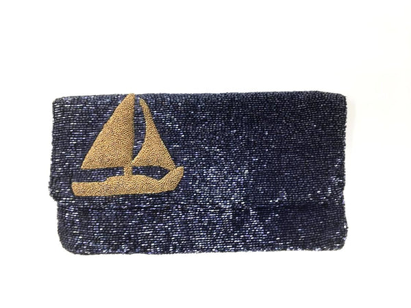 Moyna Beaded Sailboat Clutch, Gold, O/S