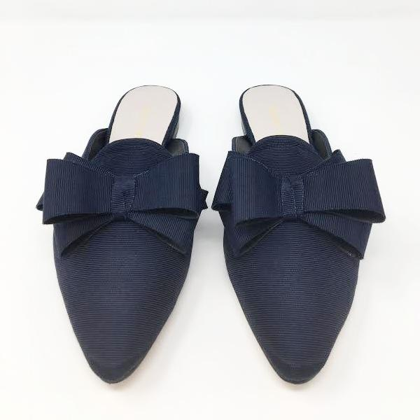 All Black Double Bow Slide, Navy, 36