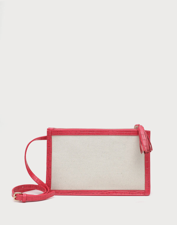 Neely and Chloe No. 60 Double Zip Shoulder Bag Croc Embossed  - Flamingo