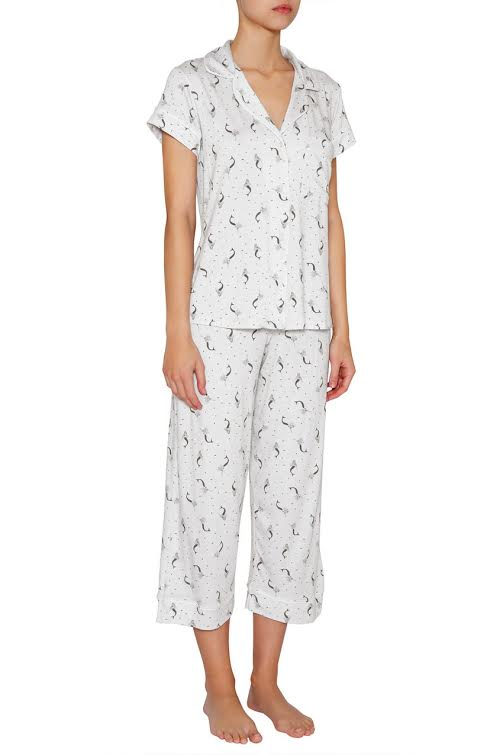 eberjey Mermaids Short Sleeve Cropped PJ Set