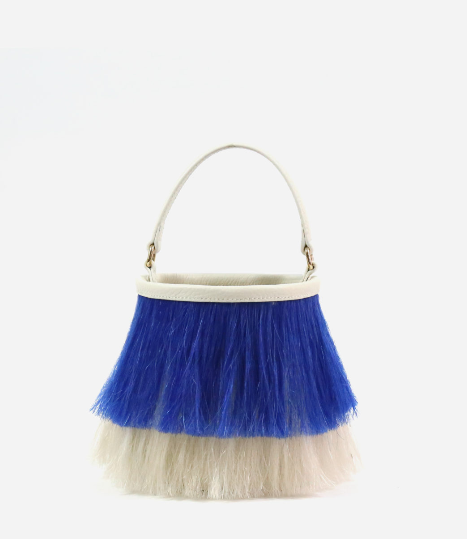 Neely and Chloe No. 36 The Horse Hair Bucket Bag  - Blue/White