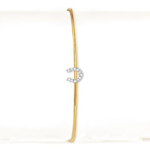 La Soula 14K Little Horseshoe Lucky Diamond Bangle