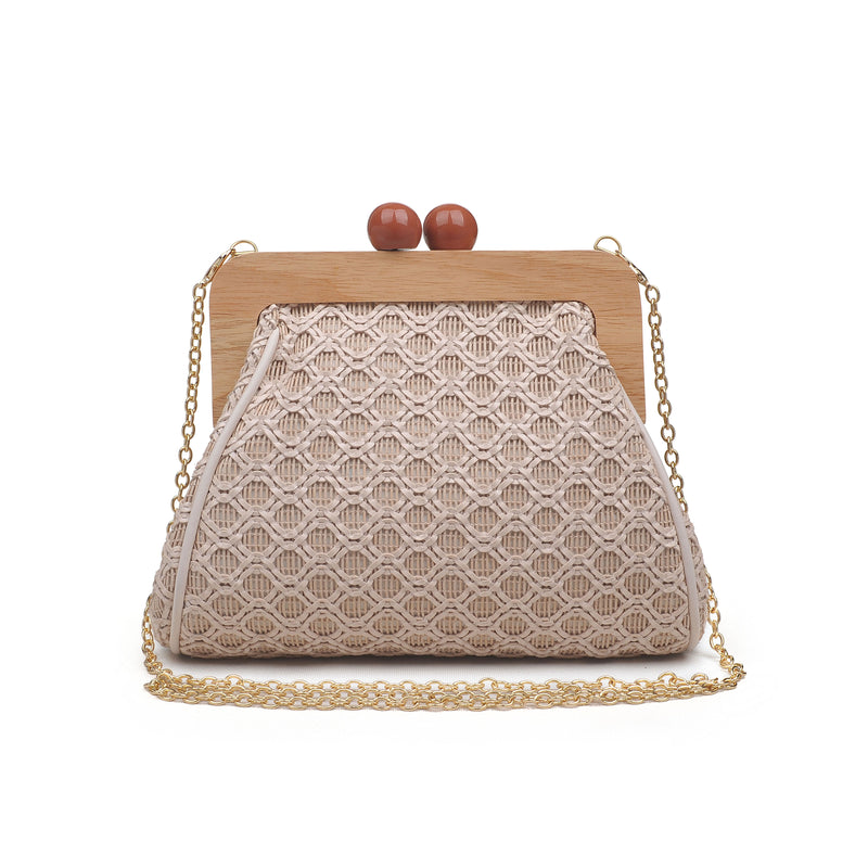 Moda Luxe Woven Straw w/ Wooden Handle Crossbody Clutch