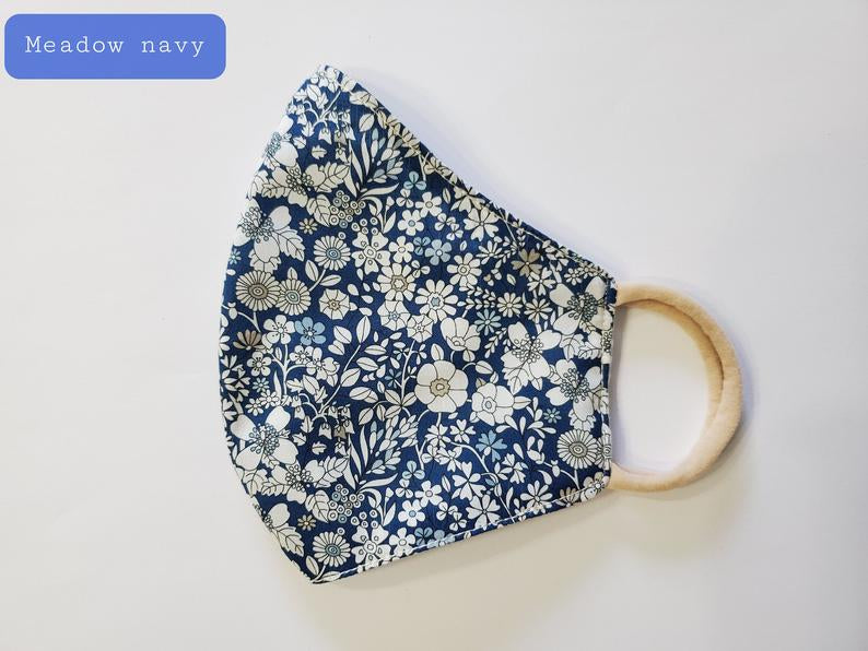 Little Flowers Fabric Face Mask - Meadow Navy
