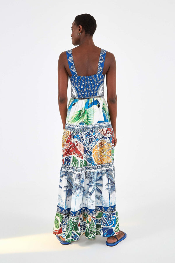 Farm Rio Blue Tile Tiered Maxi Dress