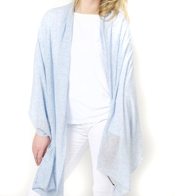 White + Warren Mini Linen Travel Wrap - Blue Heather