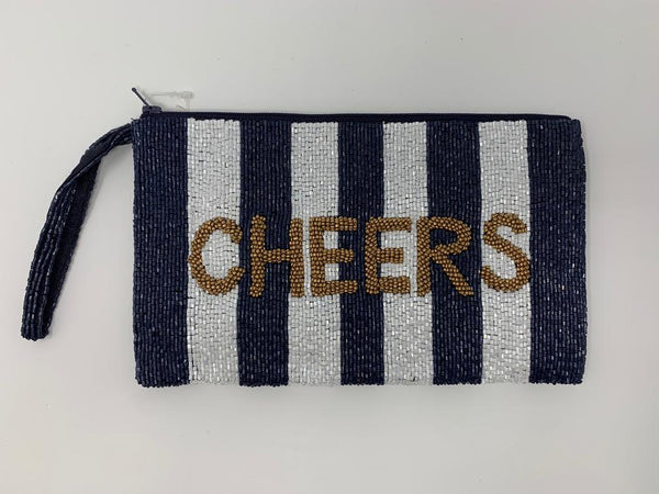Moyna D.Navy/White/M. Gold (Cheers) Wristlet