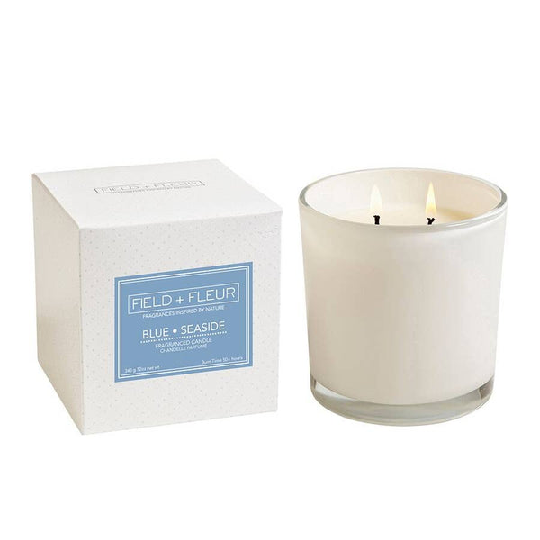 Hillhouse Naturals Blue Seaside 2-Wick Candle in White Glass