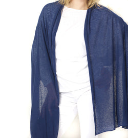 White + Warren Mini Linen Travel Wrap - Navy