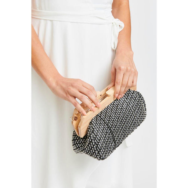 Echo Woven Fabric Clutch - Black