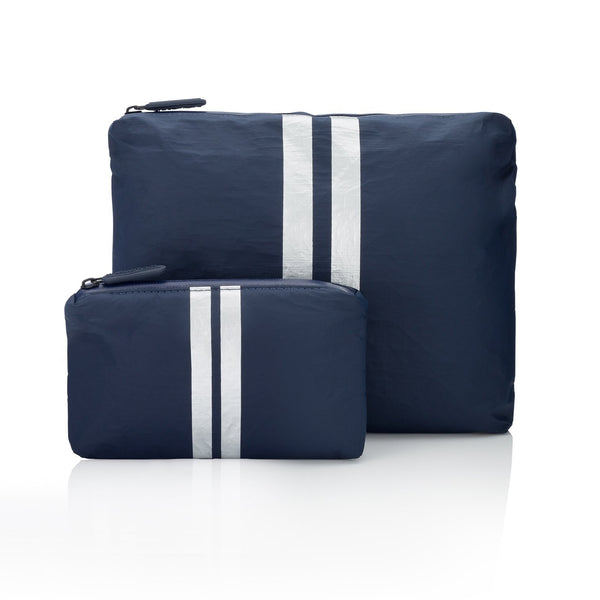 Two Piece Cosmetic Case Set with Metallic Stripes
