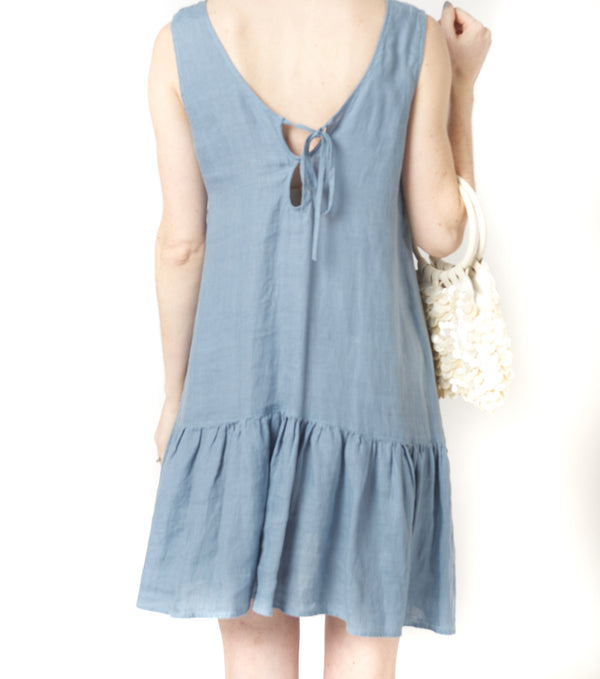 Fresh Laundry Linen Ruffle Hem Dress