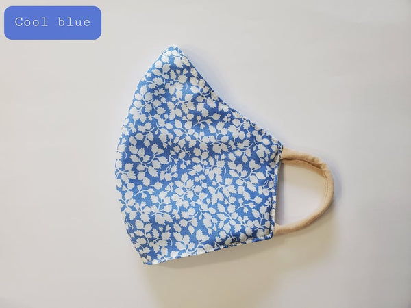 Little Flowers Fabric Face Mask - Cool Blue