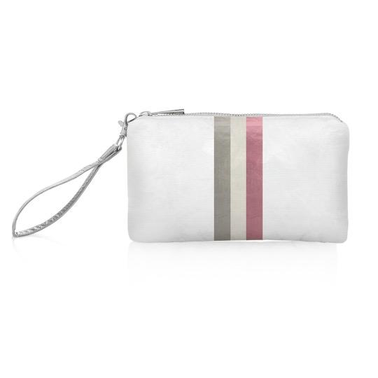 White Shimmer Wristlet with Pink Stripes