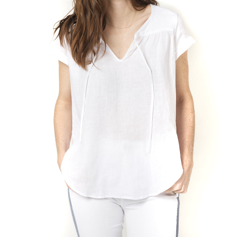 Fresh Laundry Linen Tee with Tie Chest
