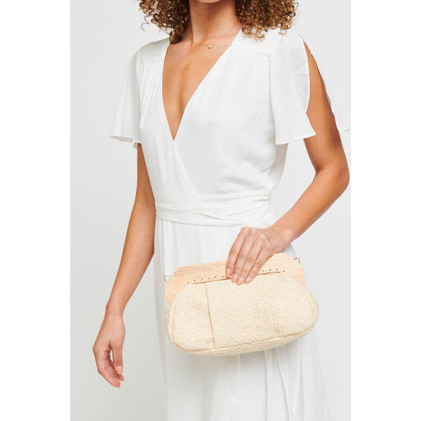 Echo Woven Fabric Clutch - Beige