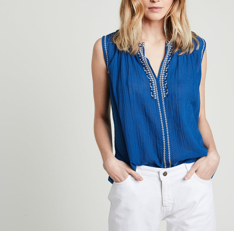 Hartford Embroidered Sleeveless Top