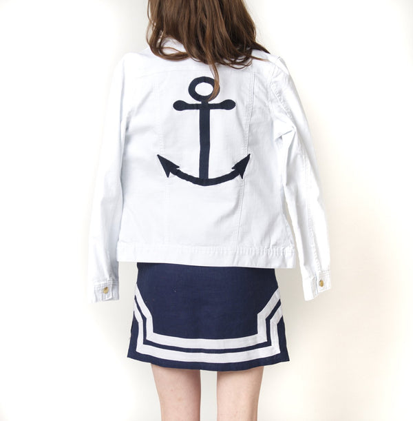 Cortland Park White Denim Jacket with Anchor