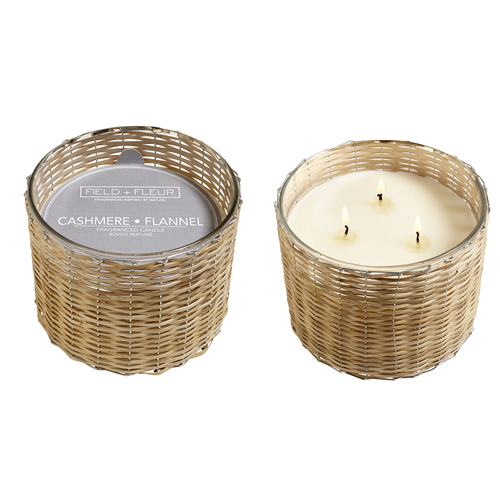 Hillhouse Naturals Handwoven Cashmere Flannel 3-Wick Candle