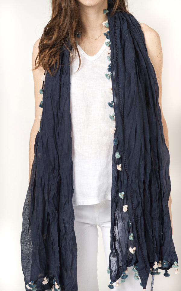 Benaras by Citrus Pom Scarf - Navy/multicolor