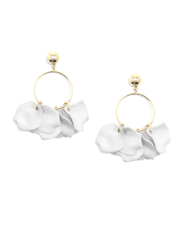 Zenzii Shiny Gold Drop Hoop w/ Petals Earrings - White