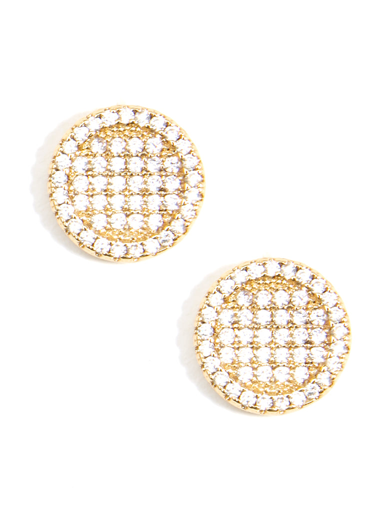 Zenzii Crystal Embellished Circle Stud