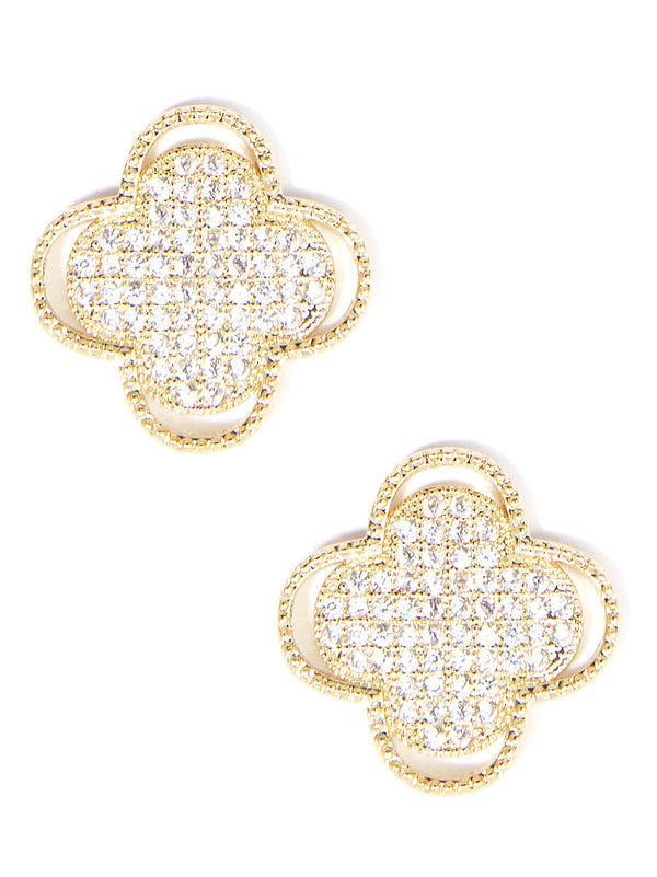 Zenzii Crystal Embellished Clover - Small