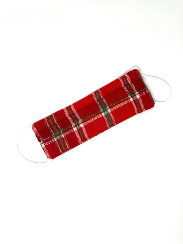 Plaid Mask - Red with Green/White