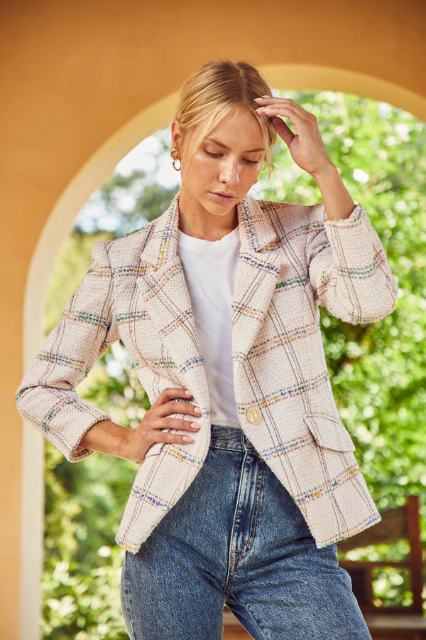 Hunter Bell Pastel Plaid Blazer