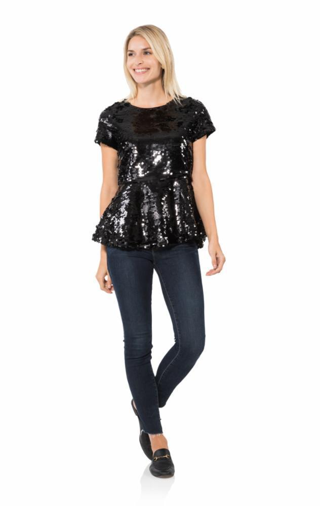 Sail To Sable Sequin Top, Black, L