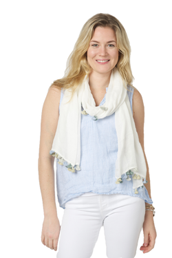 Benaras by Citrus Pom Scarf - Off white/green blue