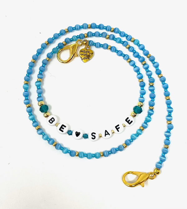 'Be Safe' Mask Chain - Blue