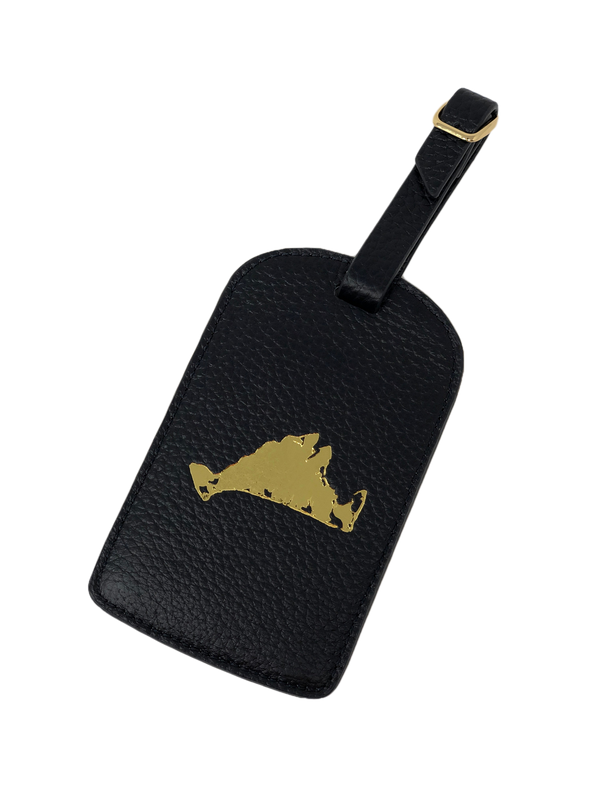 Boulevard Amelia Leather Luggage Tag - Navy Vineyard