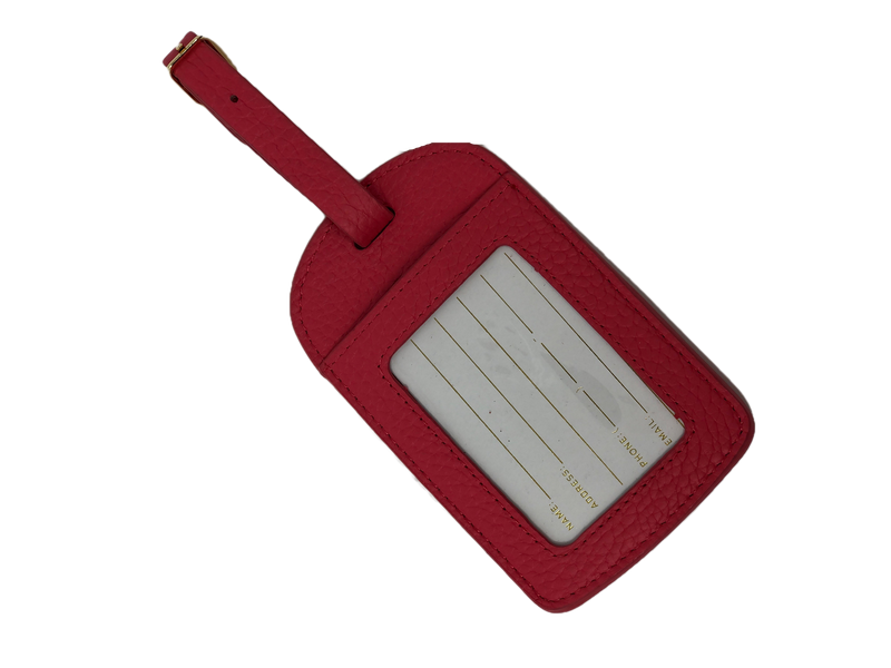 "Boulevard Amelia Leather Luggage Tag - Strawberry ""Not Your Bag"""