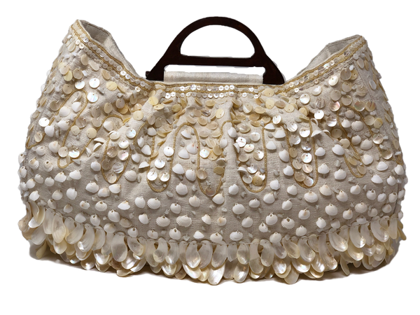 Moyna Wooden Handle Beaded Bag