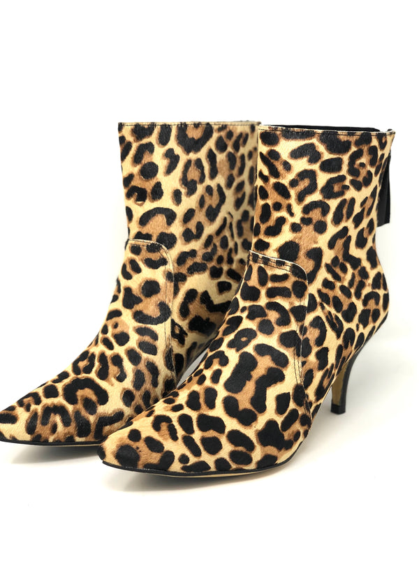 All Black Leopard Heeled Bootie