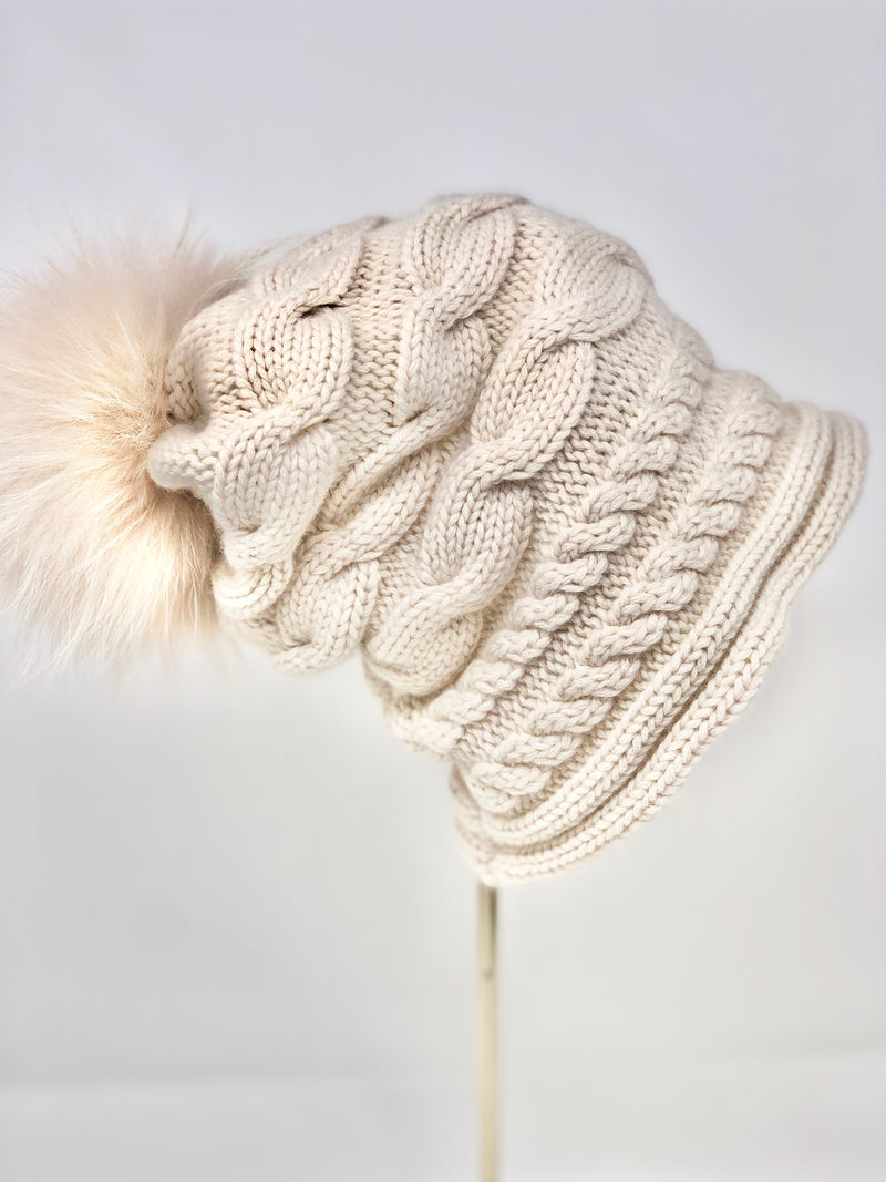 Regina Slouch Knit Hat With Removable Pom