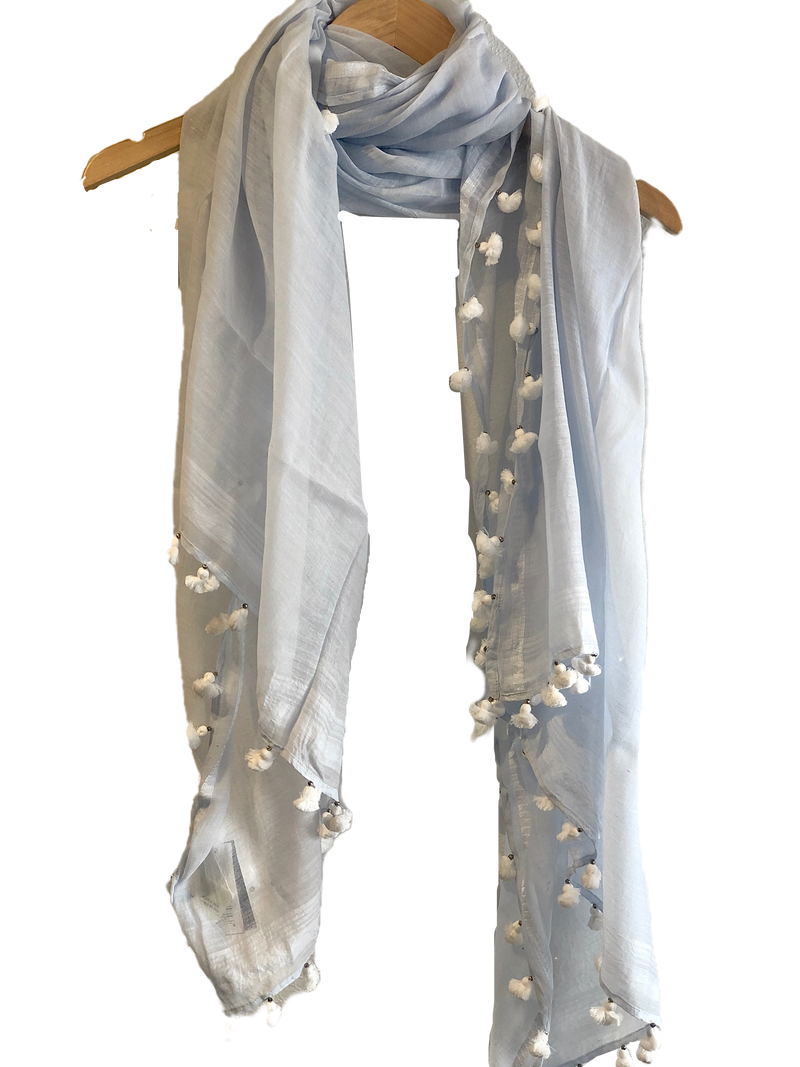 Benaras by Citrus Light Blue/White Pom Scarf - Sky blue