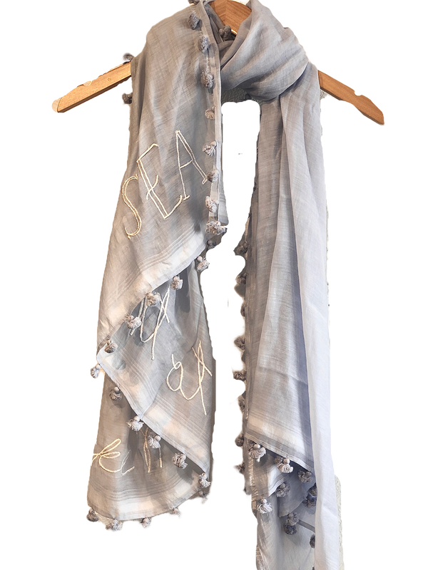 Benaras by Citrus Take Me To The Sea Scarf - Light blue/white