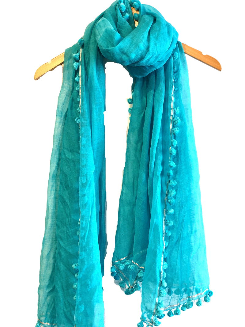 Edition Gold PomPom Scarf, Turquoise , O/S