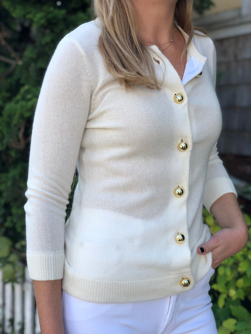 Cortland Park Uptown Girl - Gold Button Cardi